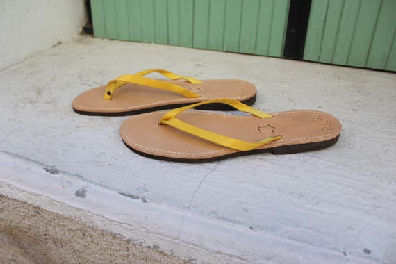 SALE SIZE 41 us 10Greek leather sandals, strap leather sandals women's sandals genuine leather sandals,yellow sandals