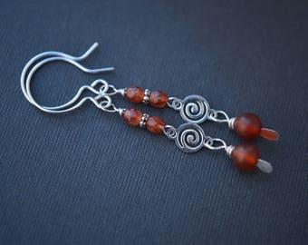 Carnelian Earrings, Swirl Earrings, Silver Filled Earrings, Long Earrings, Boho Earrings, Orange Earrings, Artisan Earrings