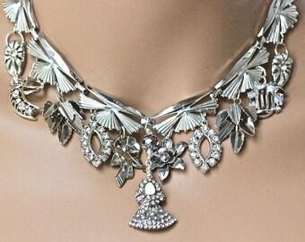 Vintage Art Deco Statement Necklace, Antique Silver Necklace, Upcycled, Assemblage, Rhinestone 1920s Gatsby, Victoria, Jennifer Jones, OOAK