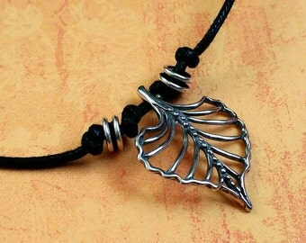 Sterling Silver Leaf Necklace on Black Waxed Cotton Cord