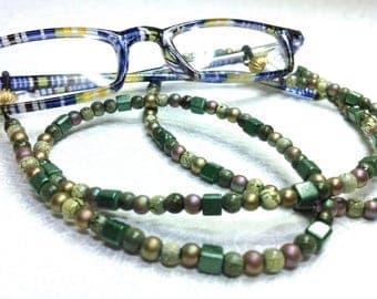Beaded Eyeglass Holder Green Earth Tones