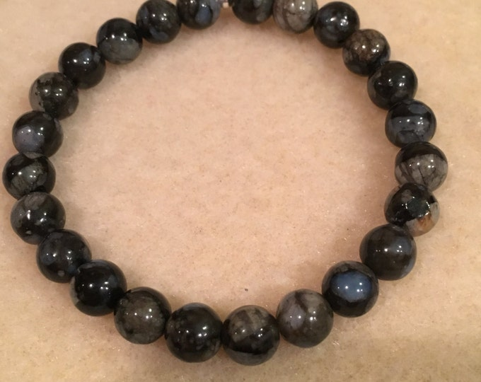 Que Sera Llanite 8mm Stretch Bead Bracelet with Sterling Silver Accent