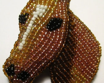 Horse Pin Vintage brooch beaded jewelry- Equine unique gift under 20- Equestrian horse lover