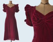 1940s Burgundy Velvet Dress size S
