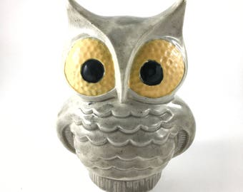 vintage ceramic owl painted 1980s grey yellow 7 inches tall