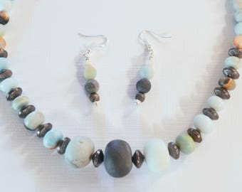 """Jewelry Set- blue beads  -Pastel Necklace and Earrings - Jasper18"""" necklace"""
