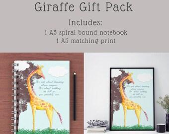A5 Lined Notebook | A5 Notebook | Giraffe Notebook | Childrens notebook | Inspirational notebook | Stationery | Stationery gift pack