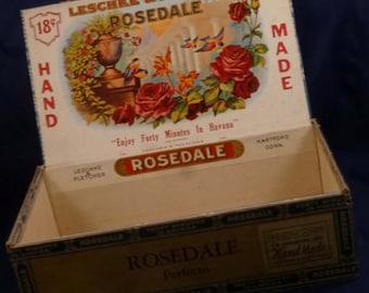 Vintage Rosedale Perfecto Leschke & Pletcher Cigar Box, 1930-40s (empty)