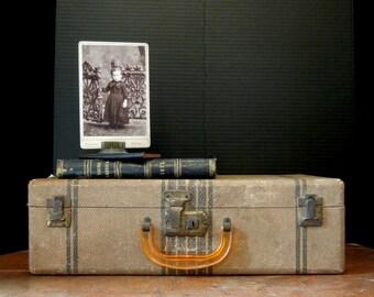 Vintage 1940's Faux Tweed Suitcase / Vintage Luggage / Display / Storage Case / Studio / Stackable