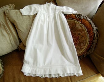 Antique / Vintage Baptism Gown / Christening Gown Christening Robe and Under Slip / Boys Girls White Lace Dress