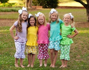 Polka Dot Ruffle Shorts or Capris- Many colors