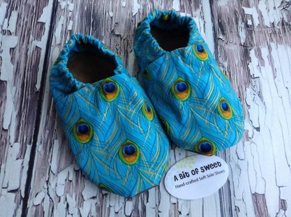 Peacock Feathers Soft Sole Shoes Size 2t
