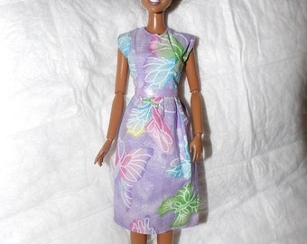 Purple butterfly print dress with sparkles for Fashion Dolls - ed948