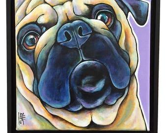 Pug Portrait Original Acrylic Painting 12x12x1  Dog Art Pet Lover pug Dog Art Pet Art