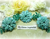 Teal Green Paper Flowers and Paper Embellishments for Scrapbook Layouts Cards Tags Mini Albums Altered Art and Paper Crafts