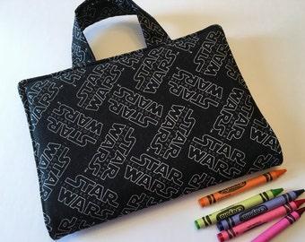 Travel Art Case - Crayon Travel Organizer - Kids Crayon Case - Star Wars Print Fabric Art Travel Case