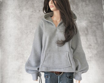 Hood sweatshirt light gray/Women fleece top/pull over top/active wear hoody/Long sleeve blouson