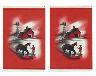 DAY'S END on the Farm (2) Vintage Single Swap Playing Cards Paper Ephemera Scrapbook