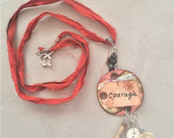 Courage Pendant - Mixed Media Jewelry Assemblage - Sari Silk Necklace - Round Pendant Necklace - Inspirational Jewelry - Gift for her