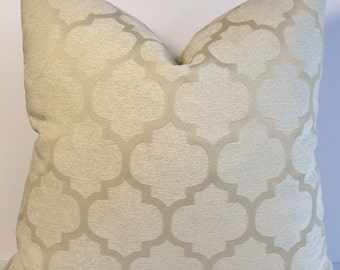 Velvet Sand Quatrefoil design decorative pillow cover BOTH SIDES - Chenille velvet soft geometric throw pillow - lumbar square euro sham