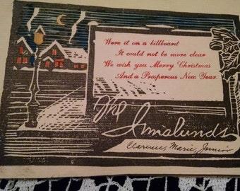 Vintage homemade block print Christmas card