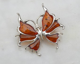Baltic Amber Jewelry Butterfly Pin Brooch Cognac Natural 925 Silver