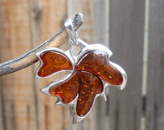 """Baltic Amber Jewelry Pendant Maple Leaf Cognac Natural 1.46"""" 925 Silver"""