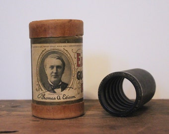 antique Edison Gold Moulded Record - 10137, US Marine Band, Brooke's Triumphal March, Roland F. Seitz - recording cylinder + canister