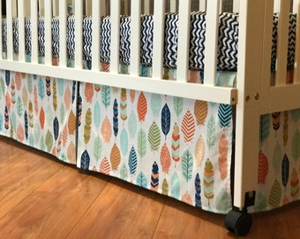 Baby Boy l Feather Crib Bedding Set | Crib Skirt l Fitted Sheet l Changing Pad Cover | Custom Nursery Decor | Tribal Arrow Aztec