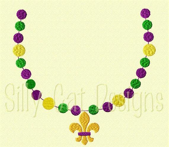 Mardi Gras Beads with Fleur De Lis Embroidery Design