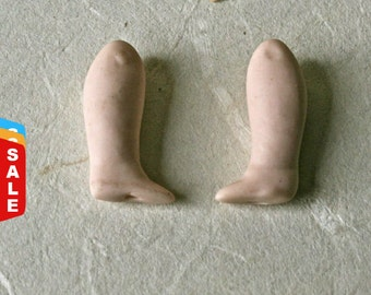 Final Markdown- Sale - Tiny Porcelain Bisque Doll Legs for Doll Making and Altered Art