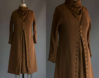 Vintage 1960's Brown and Gold Button Up Mod Long Sleeve Mini Dress Women's Extra Small to Small Retro/Hippie/Boho/Boheme