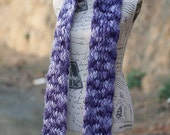 Chunky Purple Merino Wool Scarf - Thick & Thin