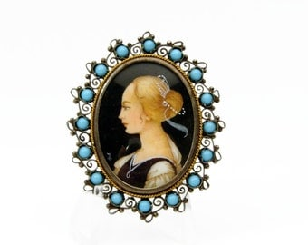 Vintage Hand Painted Portrait Brooch, Silver and Turquoise, Lady Portrait, 800 Silver, Vintage Jewelry, Brooch Pendant, Estate Jewelry