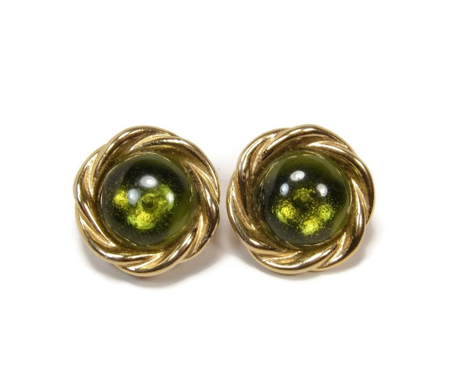 GIVENCHY Gripoix Glass Earrings, Clip On, Poured Glass, 1980s Jewelry, Fern Green, Vintage Jewelry, Givenchy Jewelry