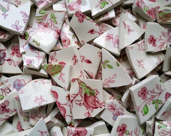 "80 +  Pink, Green & White Mosaic Filler Tiles about 1/2""  to  1"""