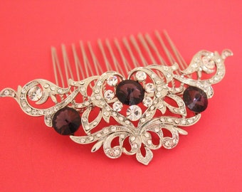 Amethyst Bridal hair clip,Wedding hair accessories,Bridal hair comb,Wedding decorative combs,Bridal hair jewelry.Wedding decorative combs