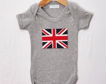 Hand Sewn Union Jack on grey babygrow