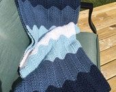 30% off Hand knit blue Chevron baby blanket