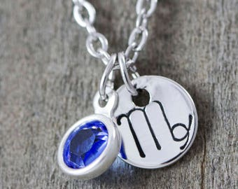 Virgo Necklace - September Birthstone Necklace - Zodiac Jewelry - Dainty Silver Necklace - Virgo Charm - Sapphire Crystal - Astrology Charm