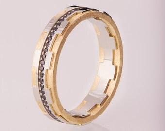Gold Wedding Band, Men's 14K Gold and Black Diamond Wedding band, steampunk Wedding ring, two tone wedding ring, two tone wedding band, 18B