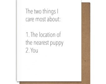 Two Things I Love Letterpress Greeting Card Puppies