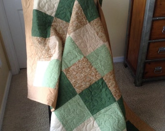"Man's Green/Brown/Beige Lap Quilt- Henry Glass/Yuko Hasegawa -55"" x 77"" - Contemporary/Modern Quilt - Ready to Ship"