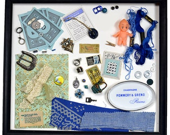 Collection of BLUE Found Objects - Use in Your Craft Work - Kewpie, Vintage Buttons, Vintage Jewelry, Textile Scraps, Buckle, Ceramic Dish