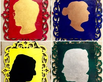 Hogwarts House Portraits 4x6 (YOUR Silhouette in house colors)