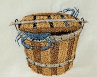 Machine embroidered flour sack towel Bushel Basket Blue Crabs Chesapeake Bay Atlantic Ocean Tea Towel Dish Towel Kitchen Hostess Gift
