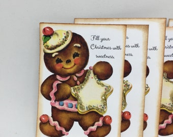 Christmas tags hand made vintage style, gingerbread boy Christmas tags, Christmas gift tags with a gingerbread boy