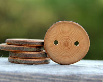 5 medium beech buttons - 1.5""