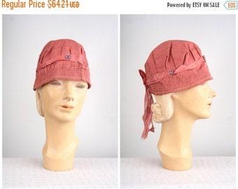 24 HOUR SALE antique dusty rose silk flapper cap- 1920s cloche bonnet / 20s cloche theater hat / Edwardian hat - 1910s silk cap