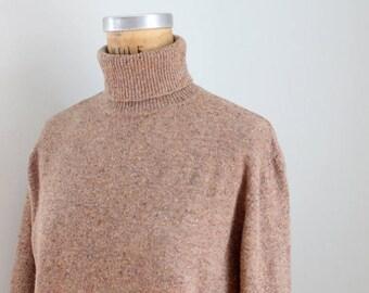 SPRING SALE taupe speckled Italian wool turtleneck sweater - ladies turtleneck sweater / vintage wool sweater - Italy sweater / vintage Talb